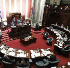 Uruguay's Senate debates a government-sponsored bill establishing state regulation of the cultivation, distribution and consumption of marijuana during a session in Montevideo